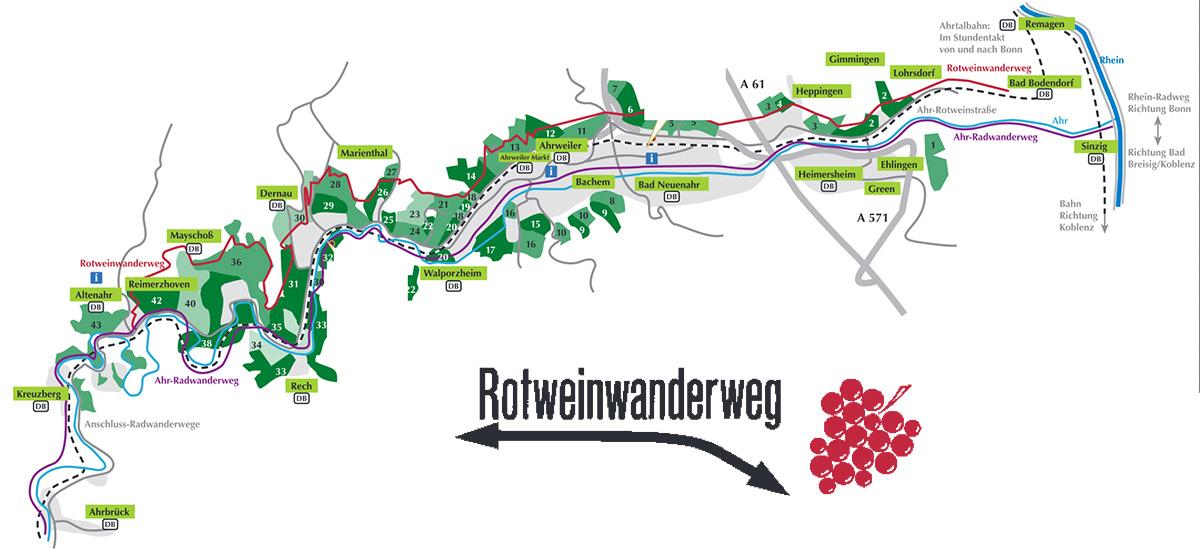 rotweinwanderweg karte Der Rotweinwanderweg entlang der Ahr   Ahrtalwandern