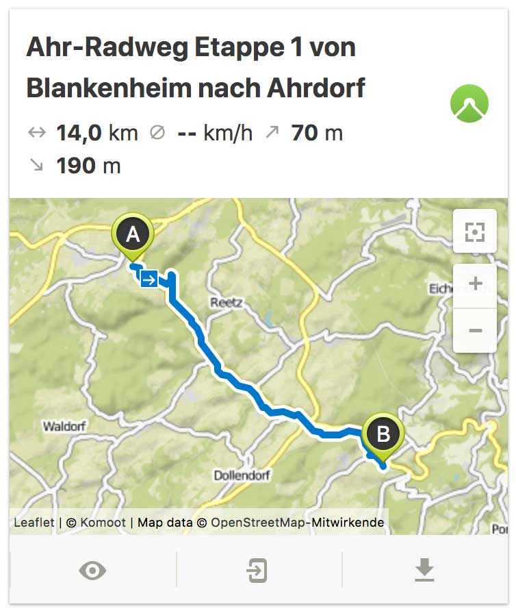 Ahr Radweg Etappe 1 von Blankenheim bis nach Ahrdorf