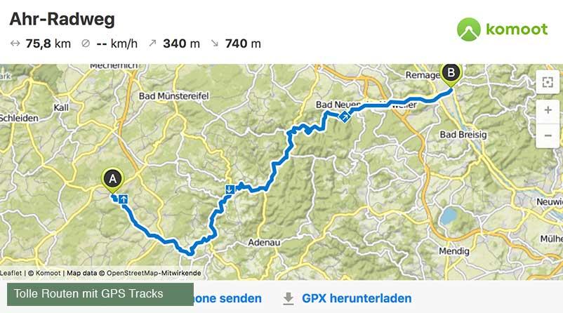 Der Ahr Radweg von Blankenheim bis Sinzig inkl. GPS Tour zum runterladen