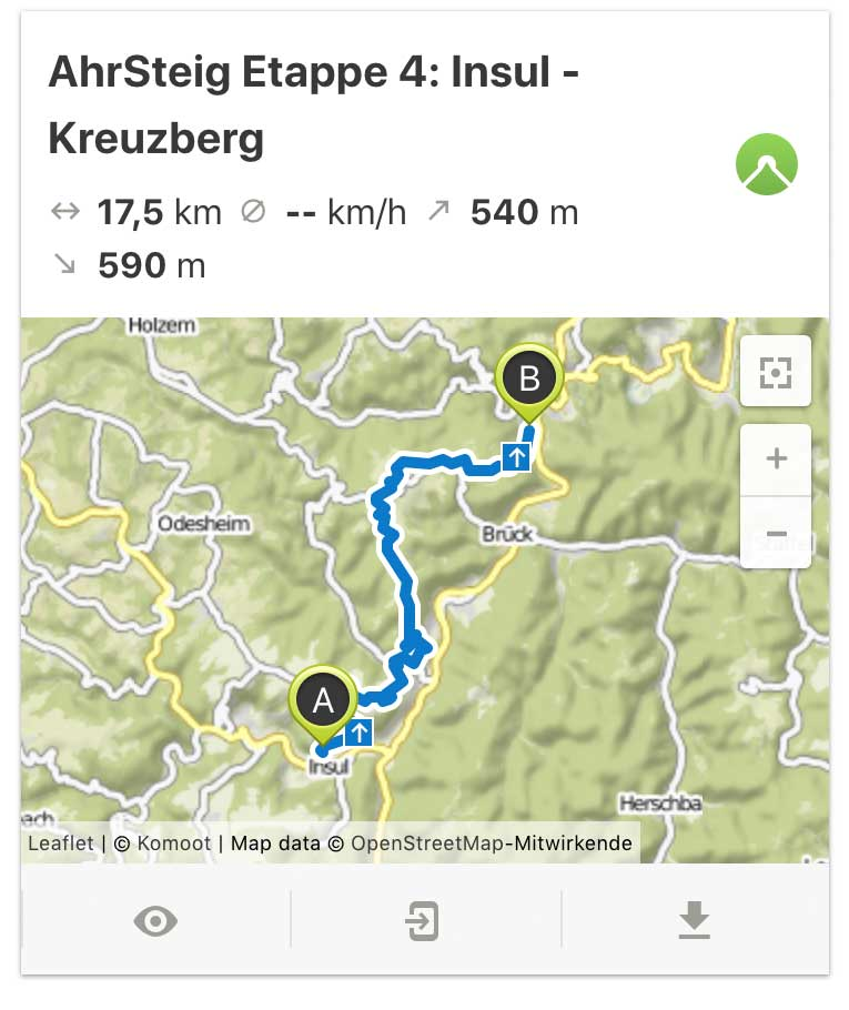 AhrSteig Etappe 4 von Insul bis Kreuzberg