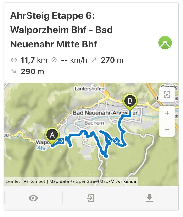 AhrSteig Etappe 6 von Walporzheim bis Bad Neuenahr