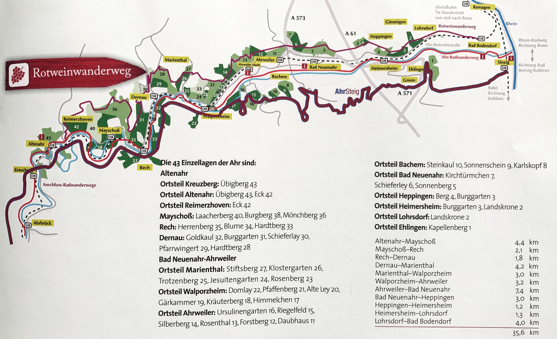 rotweinwanderweg karte Rotweinwanderweg entlang der Ahr von Kreuzberg bis Bad Bodendorf