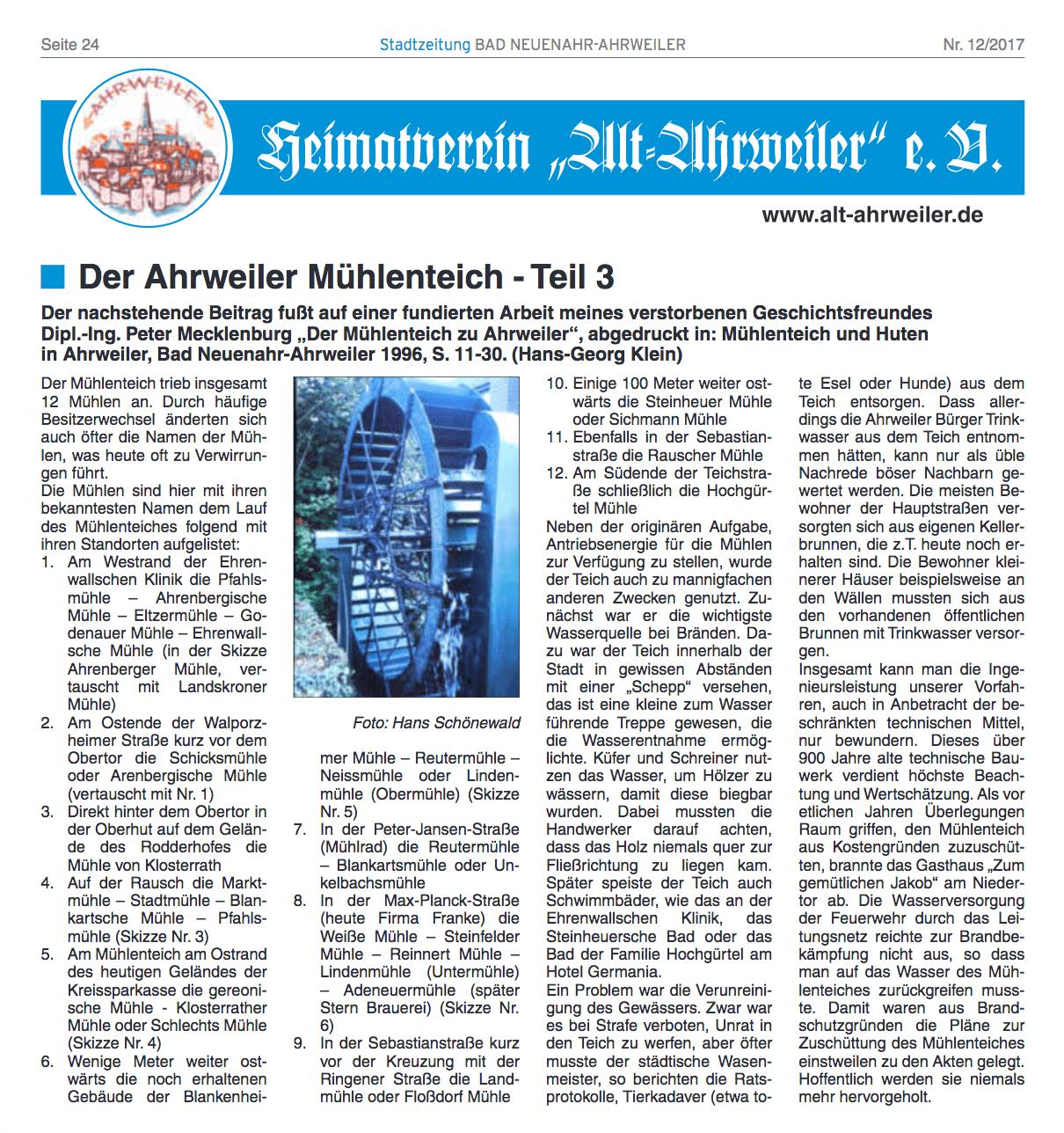 Der Ahrweiler Mühlenteich