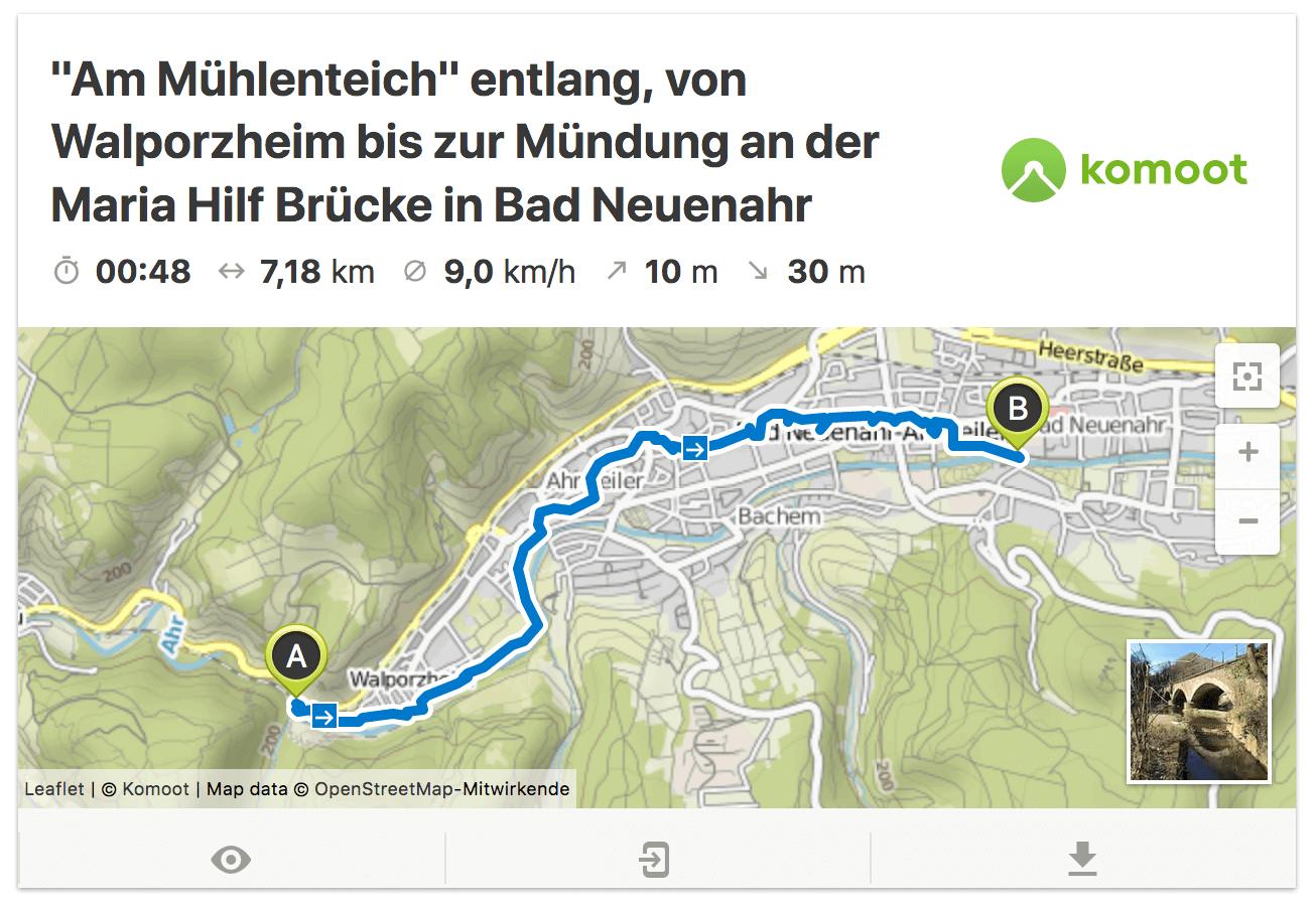 Am Mühlenteich entlang von Ahrweiler bis Bad Neuenahr mit Ahrtalwandern
