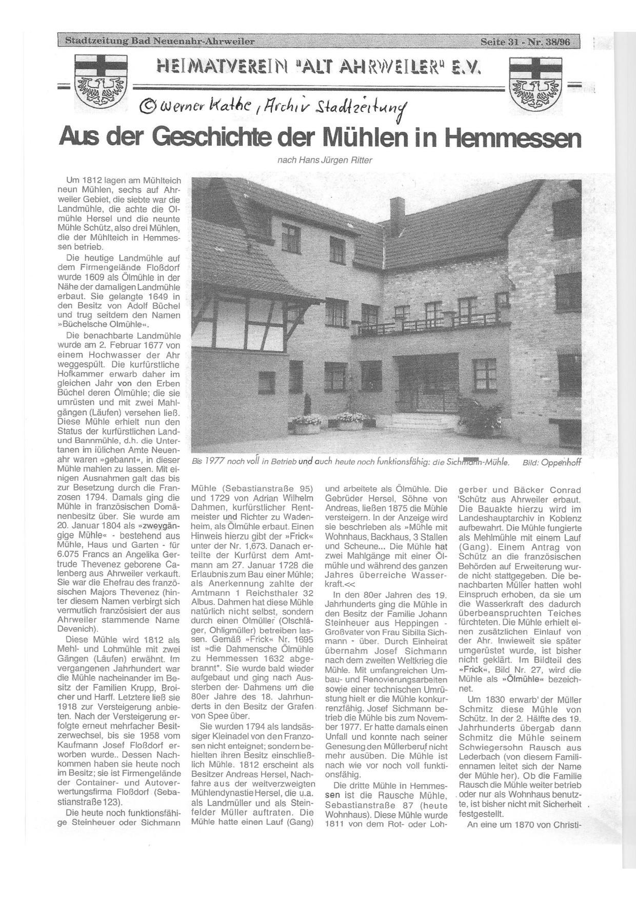 Im Anhang noch ein schöner Artikel der Stadtzeitung von 1996, freundlicherweise bereitgestellt von Werner Kathe