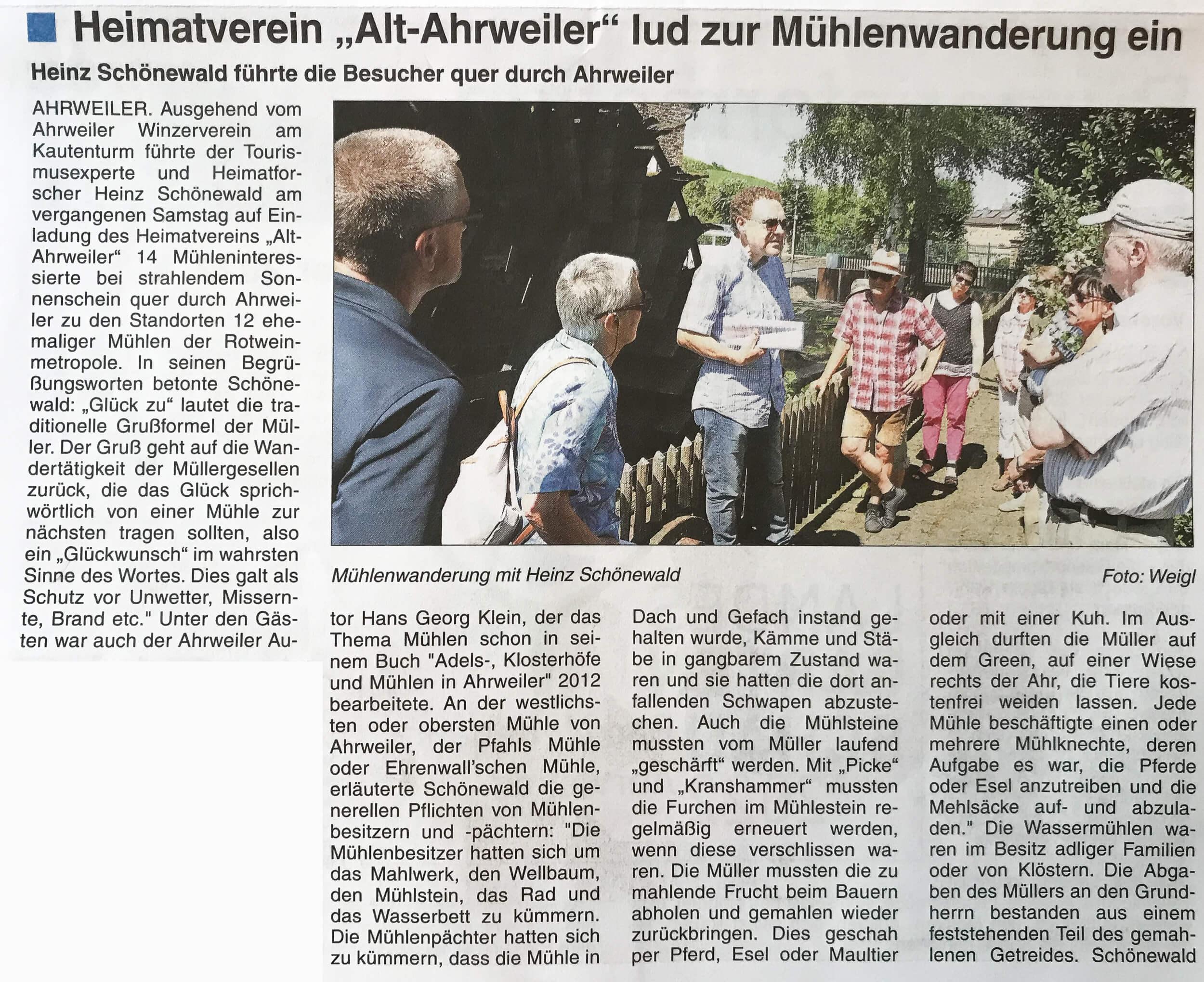 Mühlenwanderung entlang des Ahrweiler Mühlenteichs mit Heinz Schönewald Bericht der Stadtzeitung 28-2018 -Seite 1-