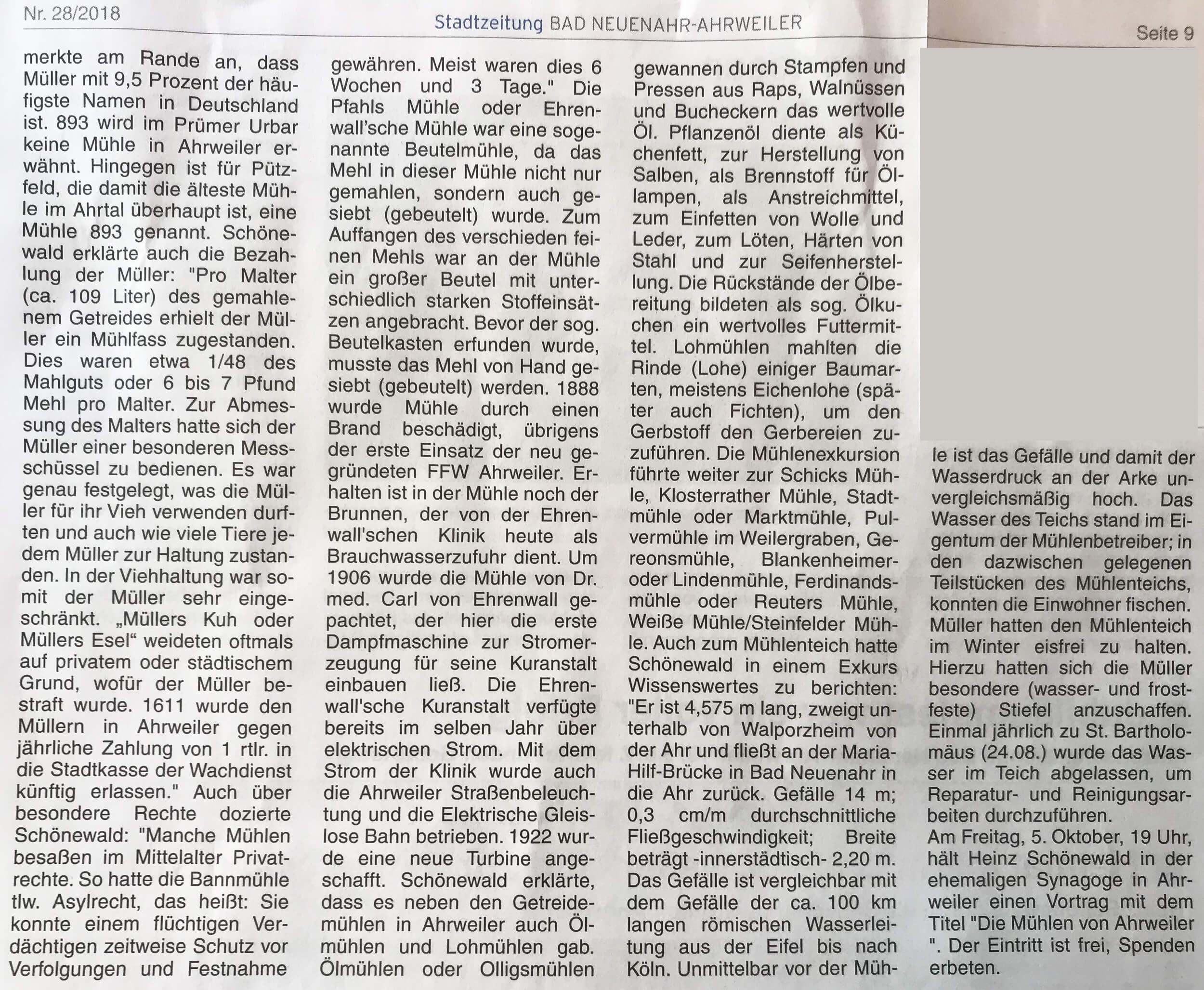 Mühlenwanderung entlang des Ahrweiler Mühlenteichs mit Heinz Schönewald Bericht der Stadtzeitung 28-2018 -Seite 2-